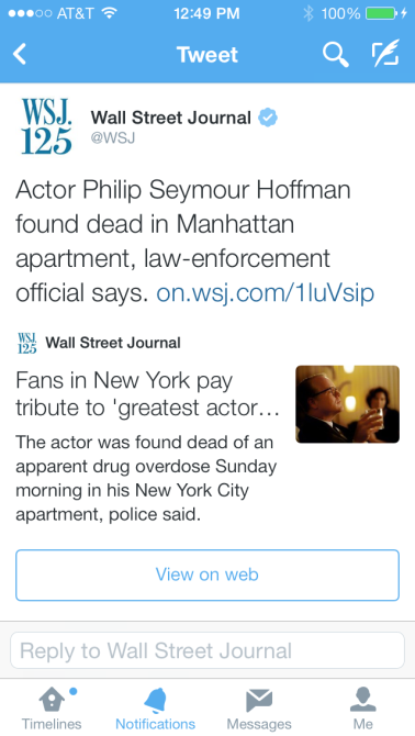 Wall Street Journal tweet on Philip Seymour Hoffman's death